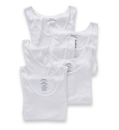 Polo Ralph Lauren Classic Fit Ribbed 100% Cotton Tanks - 5 Pack LCTKP5