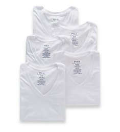 Polo Ralph Lauren Classic Fit 100% Cotton V-Neck Shirts - 5 Pack LCVNP5