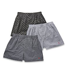 Polo Ralph Lauren Classic Fit 100% Cotton Woven Boxers - 3 Pack LCWBS3