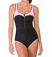 Reebok Zip Tide Zip Front One Piece Swimsuit 780524