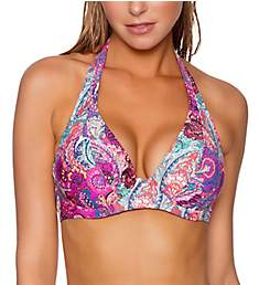 Sunsets Paisley Peacock Muse Underwire Halter Swim Top 51PP