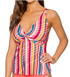 Sunsets Bungalow Stripe Forever Underwire Tankini Swim Top 77BS