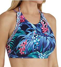 Tommy Bahama Majorelle Jardin High Neck Reversible Swim Top TSW41404T