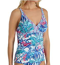 Tommy Bahama Majorelle Jardin Shirred Long Tankini Swim Top TSW41405T