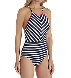 Tommy Bahama Breton Stripe Mitered High Neck One Piece Swimsuit TSW44441P