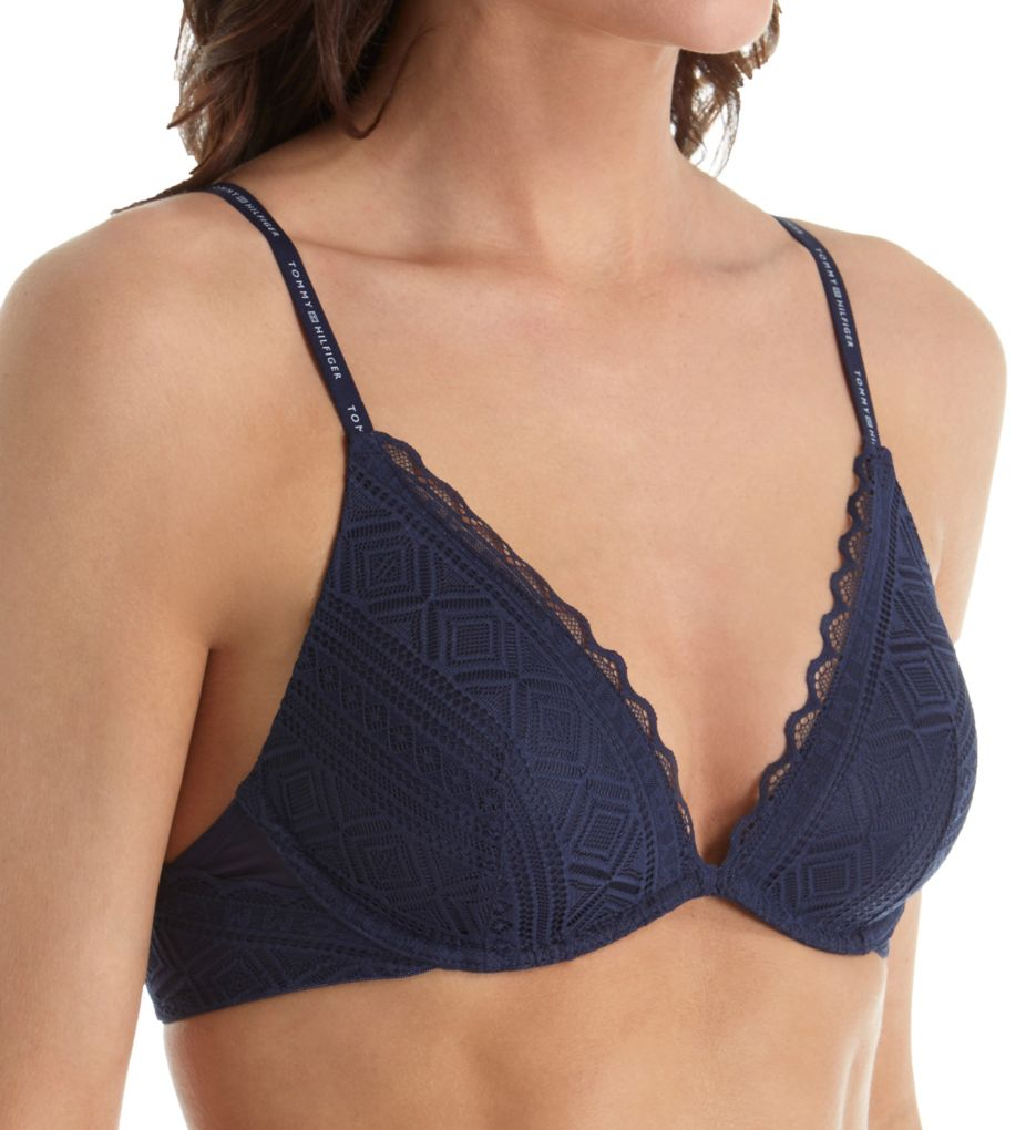 Tommy Hilfiger Pretty Lace Lightly Lined V-Neck Triangle Bra R75T008