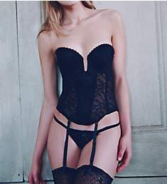 Va Bien Lace Low Plunge Bustier with Garters 6163